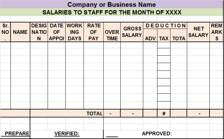 Salary Sheet Report Template Free Report Templates