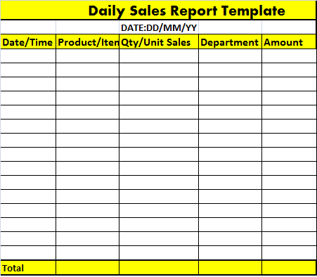 daily sales report template � free report templates