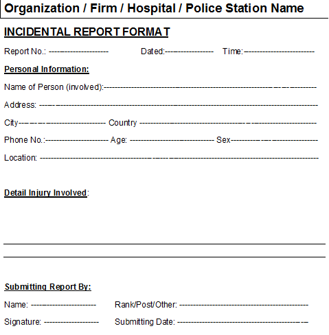 Best Photos Of Incident Report Template Ms Word Accident Incident – Incident Report Word Template