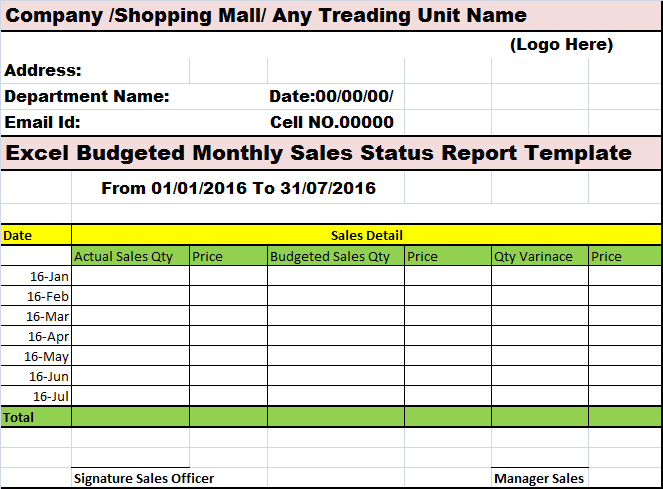 Excel Budgeted Monthly Sales Status Report Template Free Report