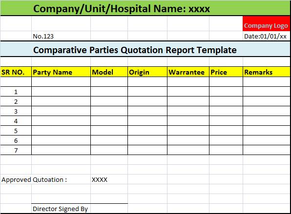 can see the preview of comparative parties quotation report template