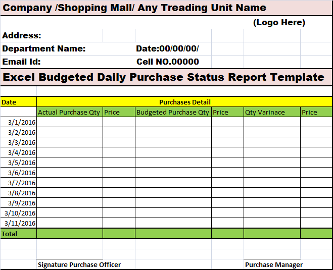 budgeted daily purchase status report template  u2013 free report templates