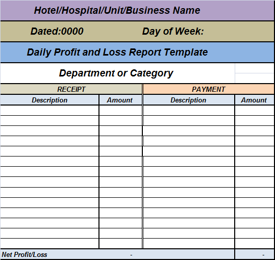 Daily profit loss report template free report templates for Daily hotel