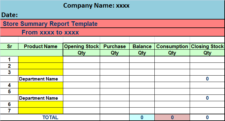 stock report in excel
