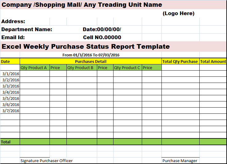 Excel Weekly Purchases Status Report Template Free Report Templates
