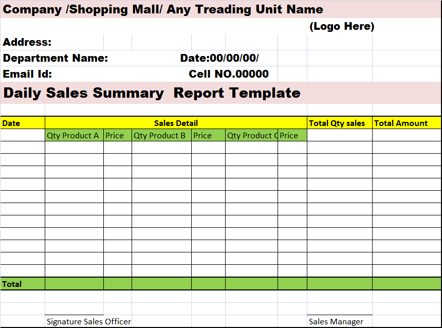 daily sales report template bing images