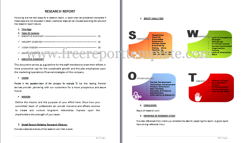 Research Report Template – Free Report Templates