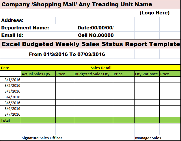 Excel Budgeted Weekly Sales Status Report Template Free Report