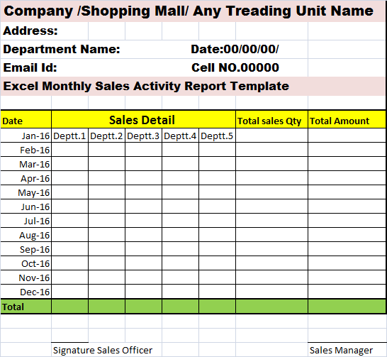 monthly sales activity report template  u2013 free report templates