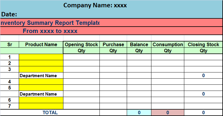 inventory report format in excel free download