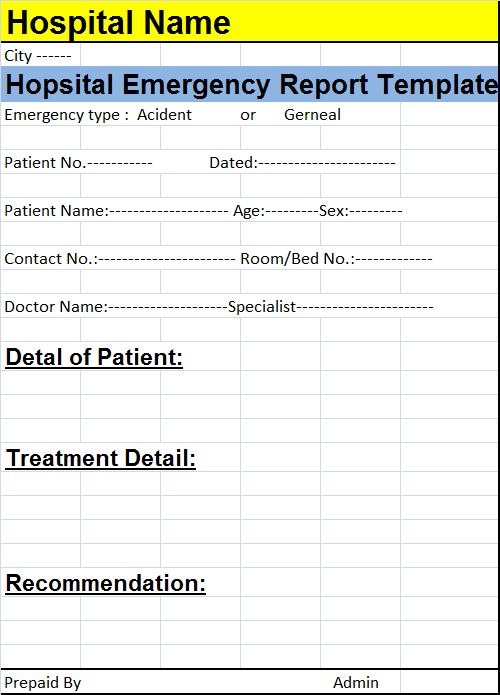hospital emergency report