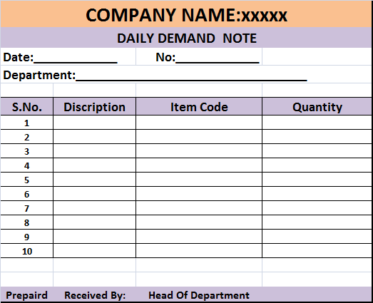 Daily Demand Report Template