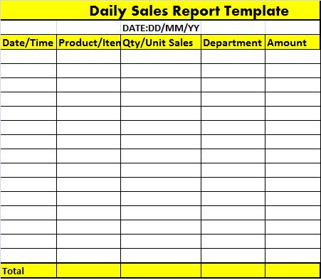 Excel Sales Report Template