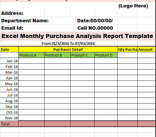 Purchase Monthly Report Template